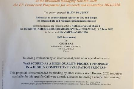 The Bluesky project is recommended for funding and bears the seal of excellence of the H2020 project